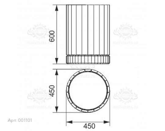 001101 - Урна деревянная на бетонной основе со вставкой