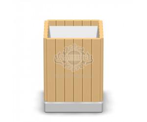 001102 - Урна деревянная на бетонной основе со вставкой