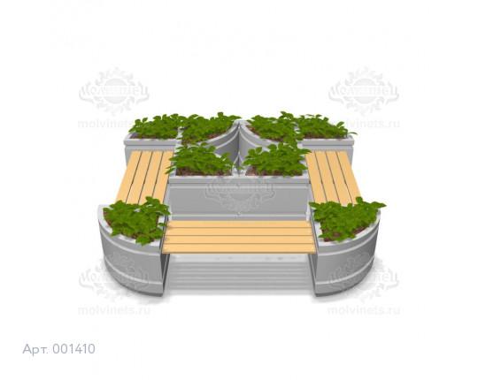 001410 - Вазоны бетонные со скамьями