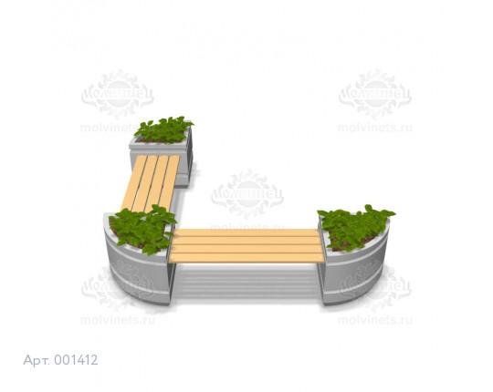 001412 - Вазоны бетонные со скамьями