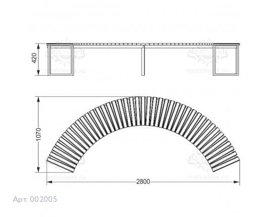 002005 - Скамья металлическая без спинки