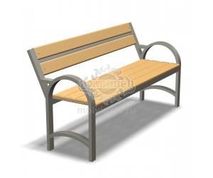002050 - Скамья металлическая со спинкой