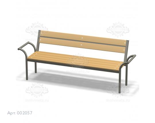002057 - Скамья металлическая со спинкой