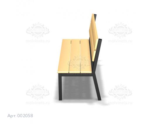 002058 - Скамья металлическая со спинкой