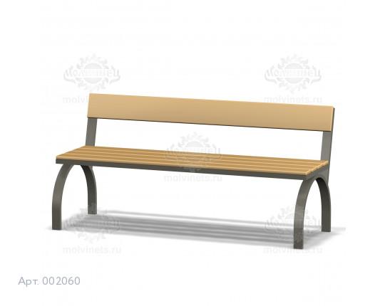 002060 - Скамья металлическая со спинкой