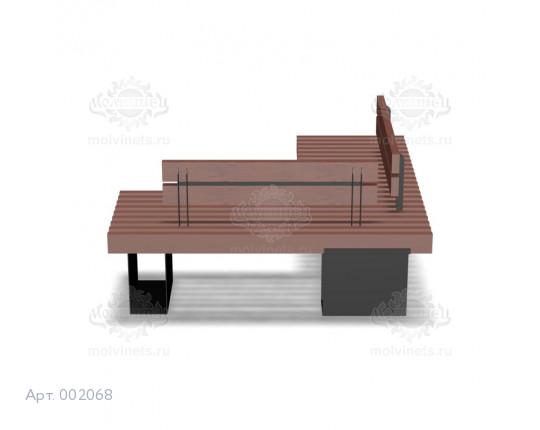002068 - Скамья металлическая со спинкой