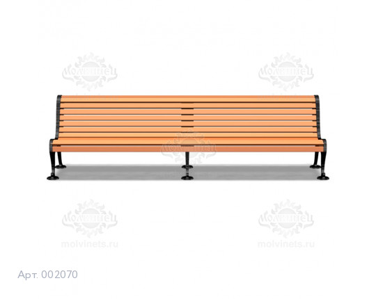 002070 - Скамья на чугунных опорах со спинкой