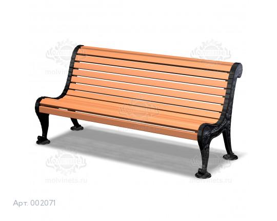 002071 - Скамья на чугунных опорах со спинкой