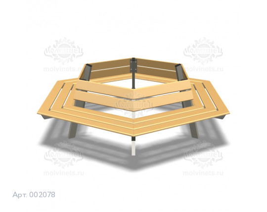 """002078 - Скамья металлическая со спинкой """"Вокруг древа"""""""