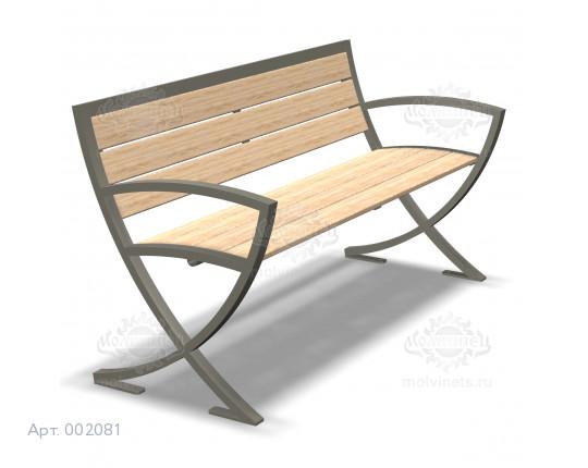 002081 - Скамья металлическая со спинкой