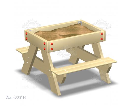"""003114 - Песочница для детей с ограниченными физическими возможностями """"Стол со скамьями"""""""