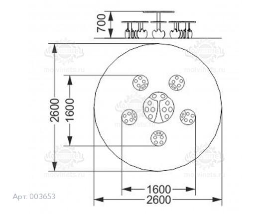 """003653 - Детский столик со скамьями """"Божья коровка"""""""