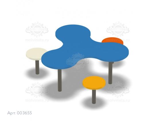 003655 - Детский столик со скамьями