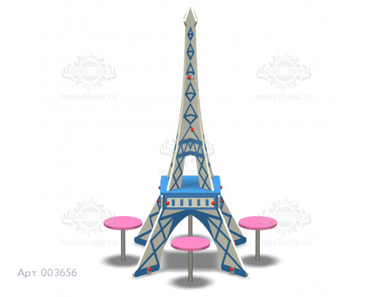 """003656 - Детский столик со скамьями """"Эйфелева башня"""""""