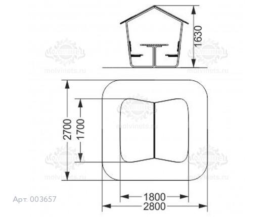 003657 - Детский столик со скамьями и навесом