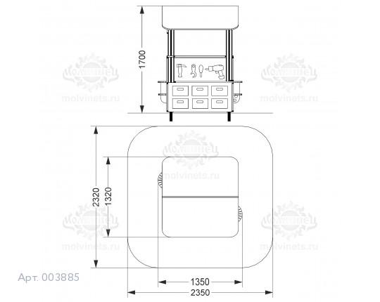 """003885 - Развивающий игровой элемент """"Мастерская с крышей"""" двухсторонняя"""