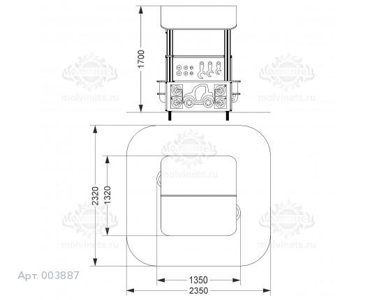 """003887 - Развивающий игровой элемент """"Шиномонтаж с крышей"""" двухсторонний"""