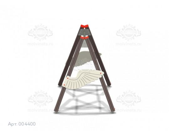 """004400 - Каркас качелей на деревянных стойках """"Крылатые качели"""" (под один подвес)"""
