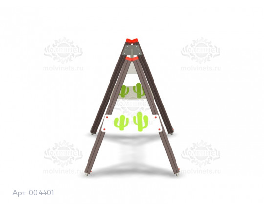 """004401 - Каркас качелей на деревянных стойках """"Дикий Запад"""" (под один подвес)"""