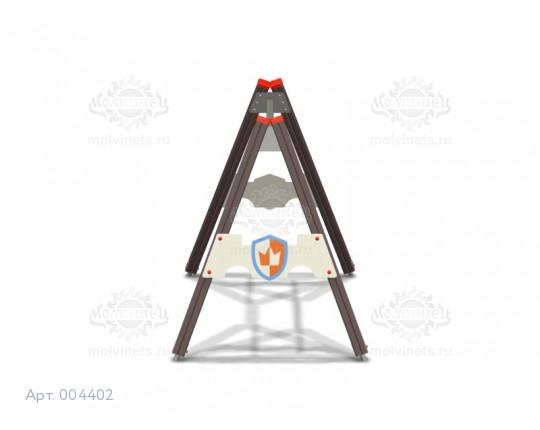 """004402 - Каркас качелей на деревянных стойках """"Средневековье"""" (под один подвес)"""