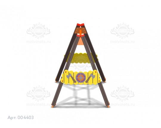 """004403 - Каркас качелей на деревянных стойках """"Викинги"""" (под один подвес)"""