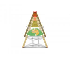"""004405 - Каркас качелей на деревянных стойках """"Котёнок"""" (под один подвес)"""