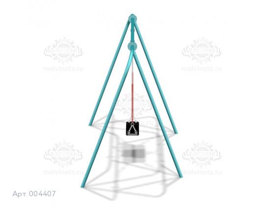 004407 - Каркас качелей на металлических стойках  (под один подвес) (разборный)