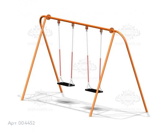 004452 - Каркас качелей на металлических стойках  (под два подвеса) (разборный)