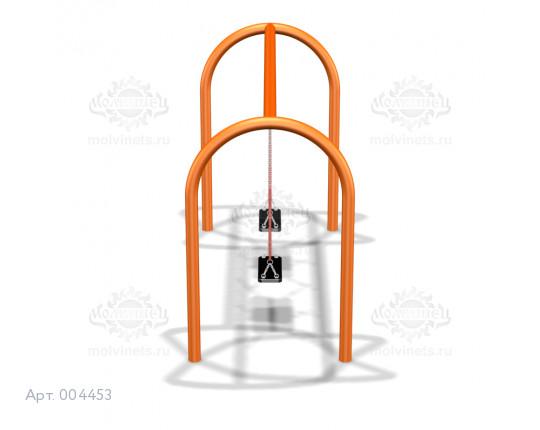 004453 - Каркас качелей на металлических стойках (под два подвеса)