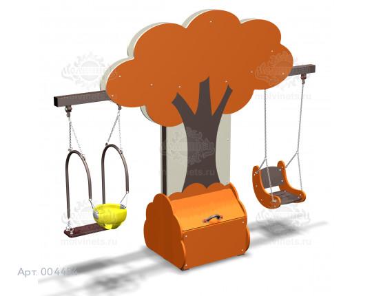 """004454 - Каркас качелей с ящиком для игрушек """"Дерево"""" (под два подвеса)"""