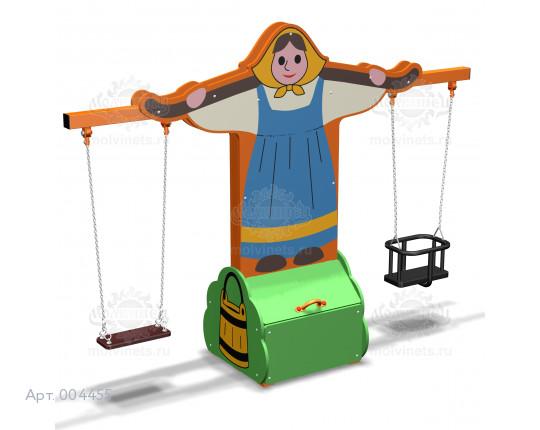 """004455 - Каркас качелей с ящиком для игрушек """"Коромысло"""" (на 2 подвеса)"""
