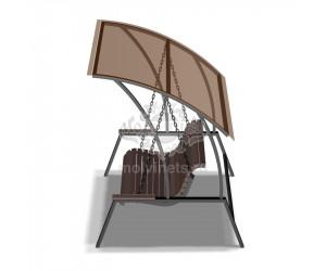 """004461 - Диван маятниковый с навесом """"Отдых"""" на цепном подвесе"""