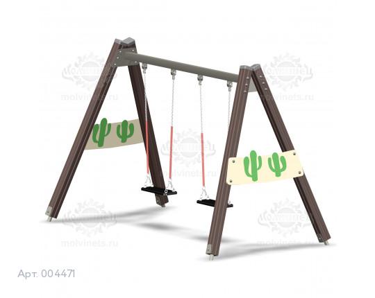 """004471 - Каркас качелей на деревянных стойках """"Дикий Запад"""" (под два подвеса)"""