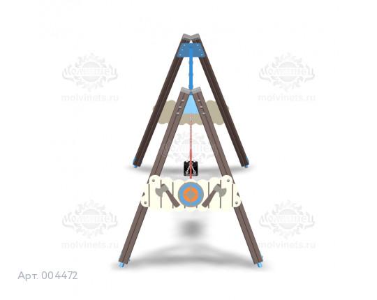 """004472 - Каркас качелей на деревянных стойках """"Викинги"""" (под два подвеса)"""
