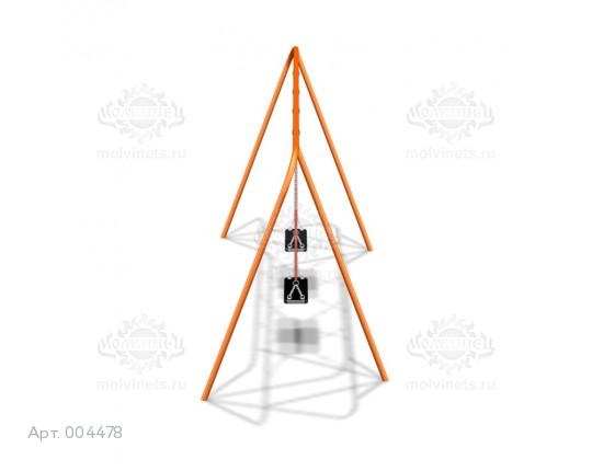 004478 - Каркас качелей на металлических стойках  (под два подвеса) (не разборный)