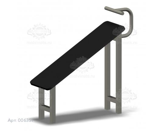 006351 - Скамья для пресса горизонтальная с жердью для ног