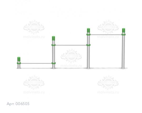 006505 - Разноуровневый тройной турник для отжиманий и подтягиваний