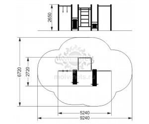 """006508 - Воркаут-комплекс """"Спорт"""" с 3 турниками, шведской стенкой, 2 наклонными скамьями для пресса, канатом и кольцами"""