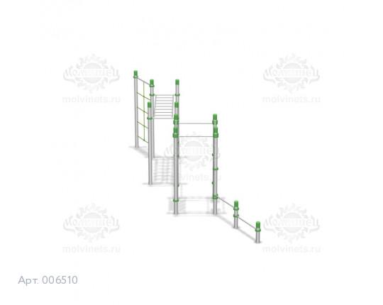 006510 - Воркаут-комплекс с 6 разноуровневыми турниками, 2 шведскими стенками и рукоходом