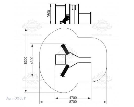 006511 - Воркаут-комплекс с 3 разноуровневыми турниками, шведской стенкой, кольцами, канатом, 2 наклонными скамьями для пресса и брусьями
