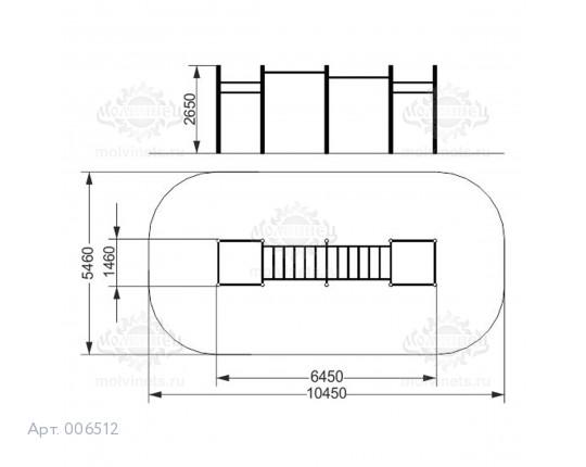 006512 - Воркаут-комплекс с 2 рукоходами и 6 турниками