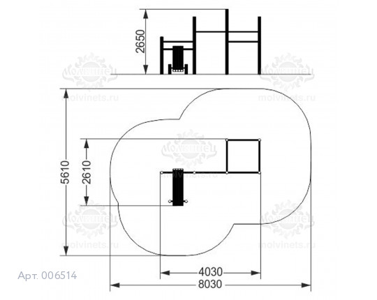 006514 - Воркаут-комплекс с 5 турниками и наклонной скамьей для пресса