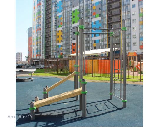 006515 - Воркаут-комплекс с 3 турниками, шведской стенкой и 2 наклонными скамьями для пресса