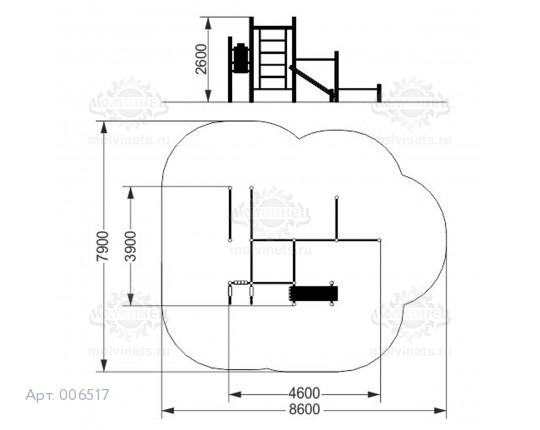006517 - Воркаут-комплекс с 6 турниками, шведской стенкой, брусьями, наклонной скамьей для пресса и вертикальным прессом