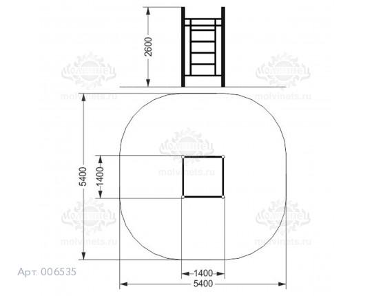 006535 - Воркаут-комплекс с 3-мя турниками и шведской стенкой