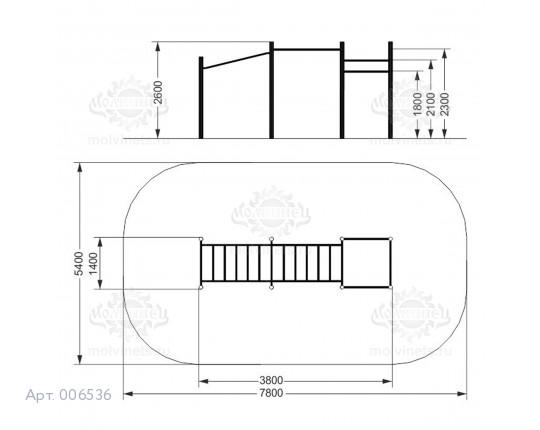 006536 - Воркаут-комплекс с 2-мя рукоходами с подъемом и 3-мя турниками