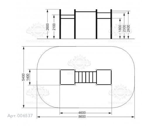 006537 - Воркаут-комплекс с рукоходом, 5-ью турниками и шведской стенкой
