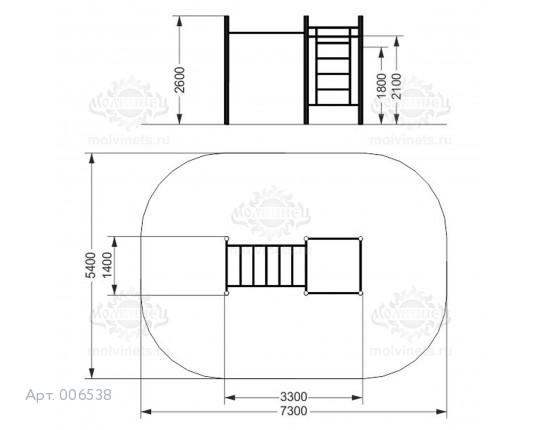 006538 - Воркаут-комплекс с рукоходом, 2-мя турниками и шведской стенкой