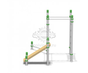 006539 - Воркаут-комплекс с 4-мя турниками для подтягиваний и отжиманий, шведской стенкой и наклонной скамьей для пресса