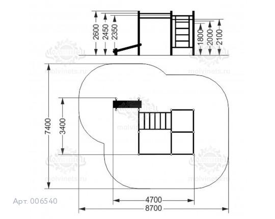006540 - Воркаут-комплекс с рукоходом, 7-ью турниками, шведской стенкой и наклонной скамьей для пресса
